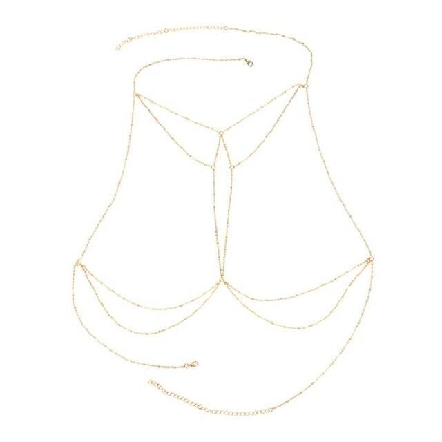 New tassel bikini chest chain body waist chain Beach Sexy multi-layer tassel body jewelry women's chest chain 5