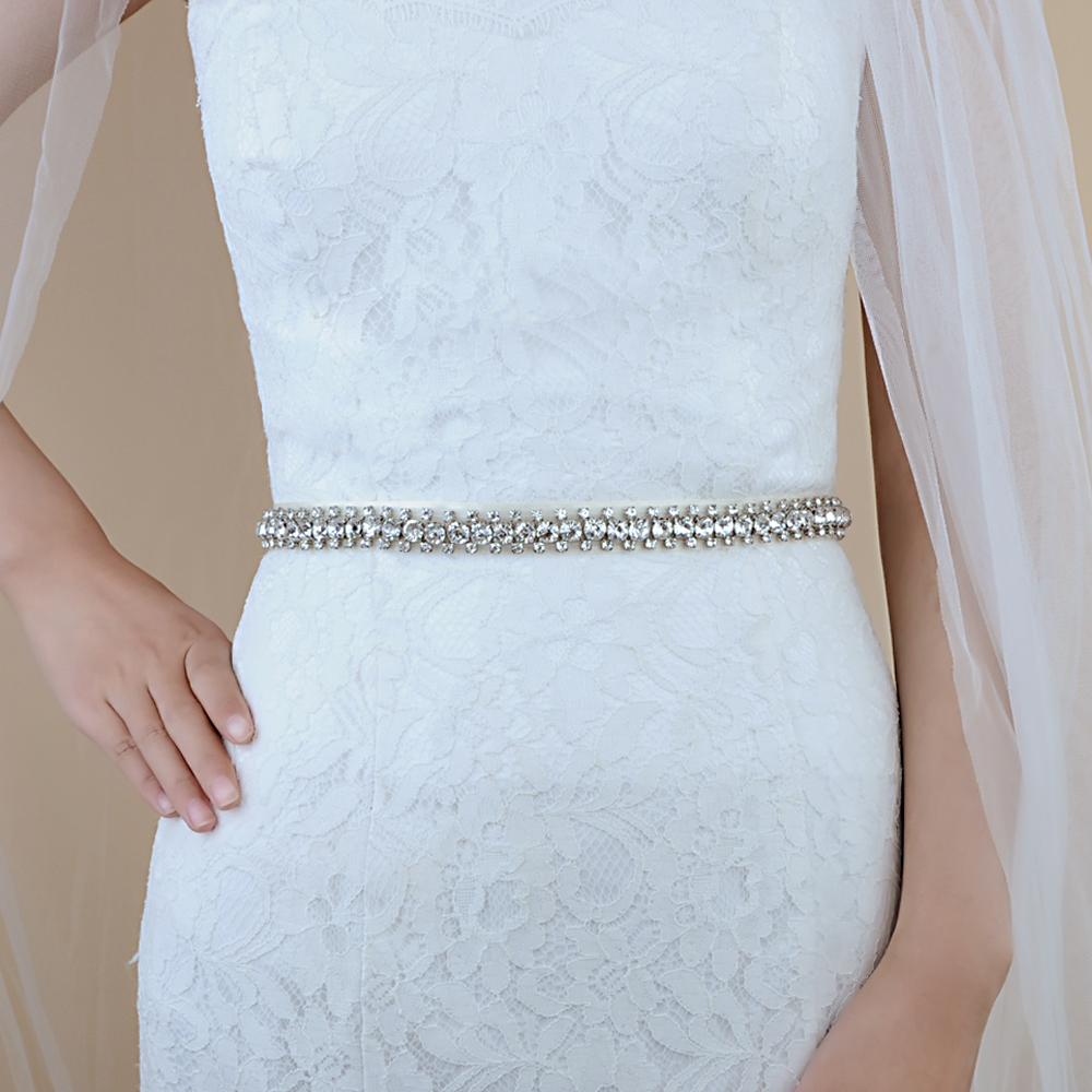 TRiXY S42 Stunning Silver Diamonds Belt Wedding Belts Rhinestone Belt Wedding Dress Belt Sashes Wedding Bridal Sash Belt