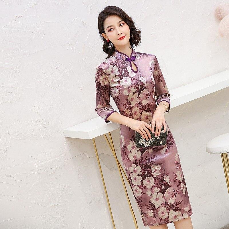 Fashion Stand Collar Slit Mid-length Cheongsam Velvet Slim Fit Handmade Frog New Style