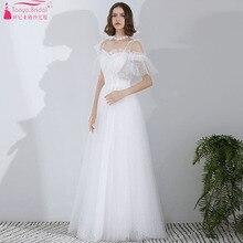 Vintage tul vestidos de boda cuello barco longitud piso elegante Bohemia playa túnica de soriee Chic ZW261