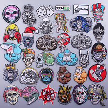 Punk Embroidered Patches For Clothing Iron On Strong Gorilla Patches Stripe For Clothes Appliques For T-shirt Badges Shark Patch
