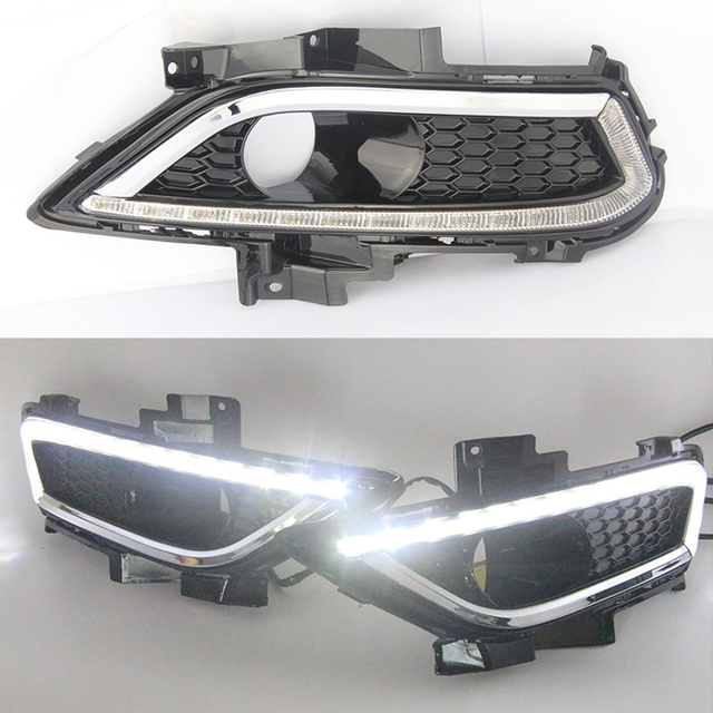 1 Set Led DRL Daytime Running Light car styling Waterproof With Fog Lamp Hole For Ford Mondeo Fusion 2013 2014 2015 2016