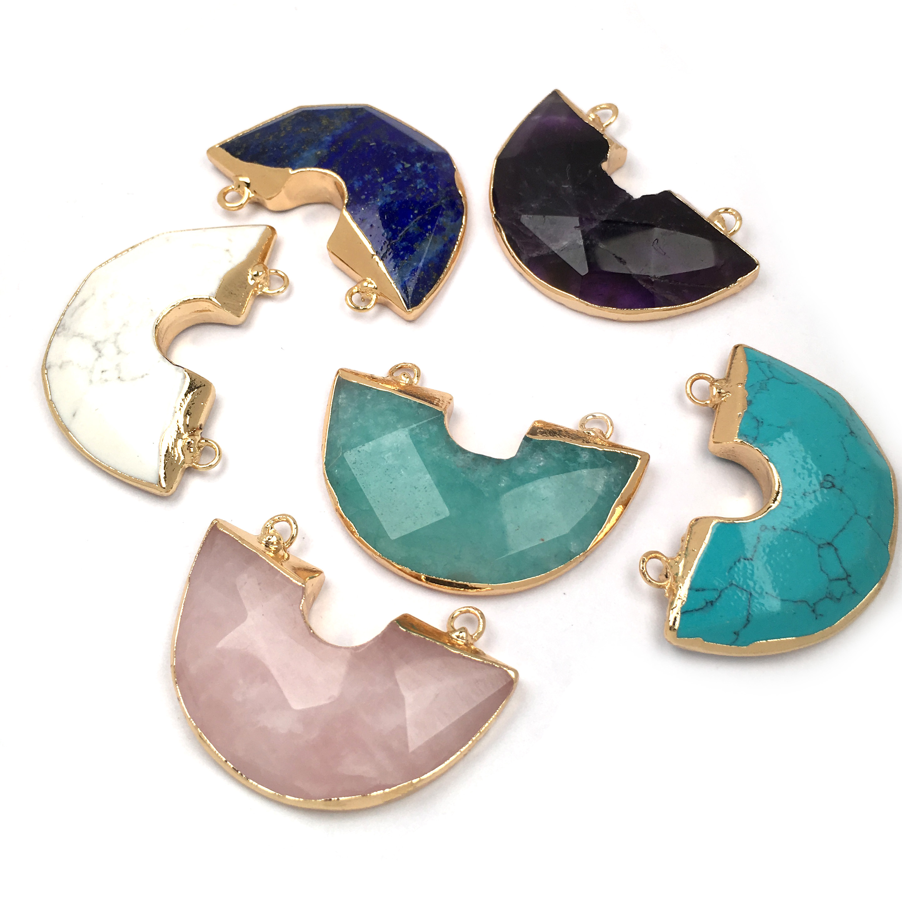 Natural Stone Semicircle Shape Pendants charm Faceted Pendants for Jewelry Making Supplies DIY necklace accessories size 30x40mm