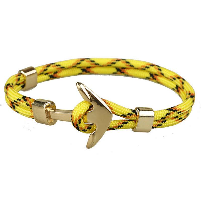 เชือกสีเหลืองทอง Anchor สร้อยข้อมือเชือกสร้อยข้อมือผู้หญิงผู้ชายเด็กผู้หญิง