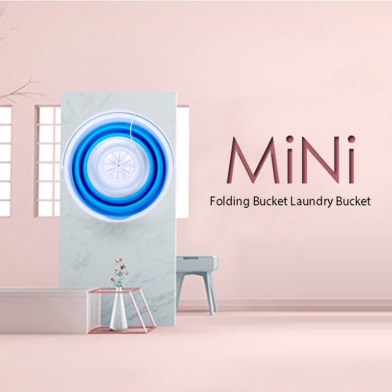Folding Bucket Washing Machine Ultrasonic Portable Dormitory Mini Underwear Pantyhose Shake Sound Washing God Machine