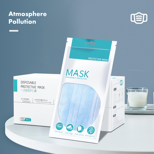 3 Laye Mask dust protection Masks Disposable Face Masks Elastic Ear Loop Disposable Dust Filter Safety Mask Anti-Dust 2