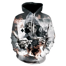 Skull Poker Hoodies Sweatshirts Men Women 3D Pullover Funny Rock Tracksuits Hooded Male Jackets Fashion Casual Outwear Winter(China)