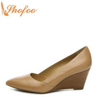 Taupe Classics Women Pointed Toe Wedges Heels Pumps Large Size 12 14 For Ladies Woman Slip On Fashion Career Casual Shoes Shofoo