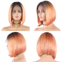 Brazilian Straight 13X4 Lace Front Human Hair Wigs Short Bob Ombre Orange Pink Purple Lace Wigs Remy Human Hair Wig Euphoria(China)