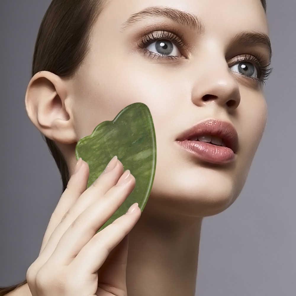 Drop Shipping Face Massage  Jade Roller Facial Massager Guasha Board Set 100% Natural Gouache Scraper Real Stone Jade Roller
