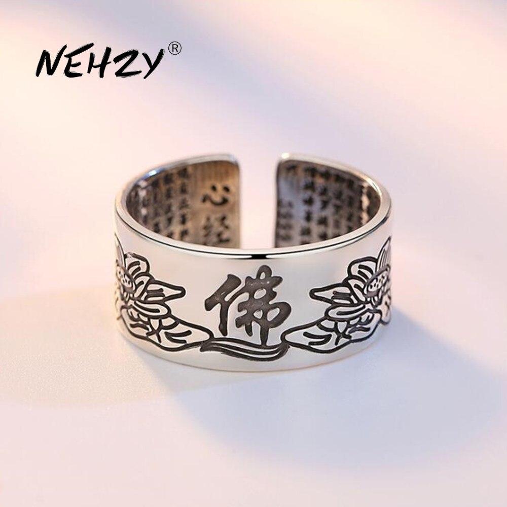 Nueva joyería de plata de ley 925 NEHZY, anillo de flores talladas a la moda, regalo de día de recuerdo Simple Retro, anillo abierto para hombre y mujer