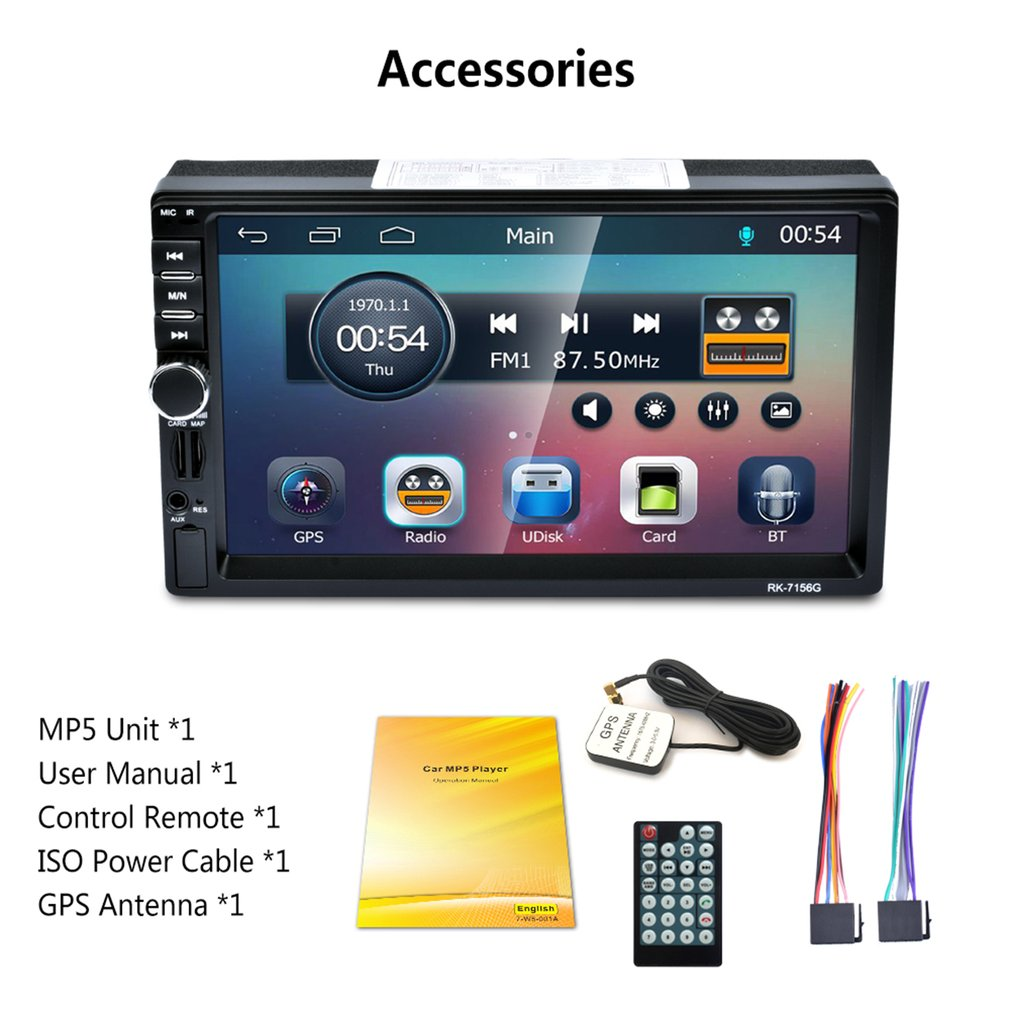2Din 7 zoll RK-7156G Auto MP5 <font><b>Bluetooth</b></font> FM/RDS Auto Radio HD Touchscreen GPS Navigation Auto Multimedia-Player unterstützung USB TF image