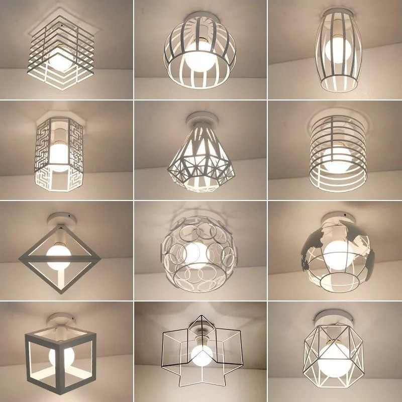 Modern Nordic Minimalism White Led Ceiling Light for Home Corridor Bedroom Deco Kitchen Interior Loft Square Round Star E27