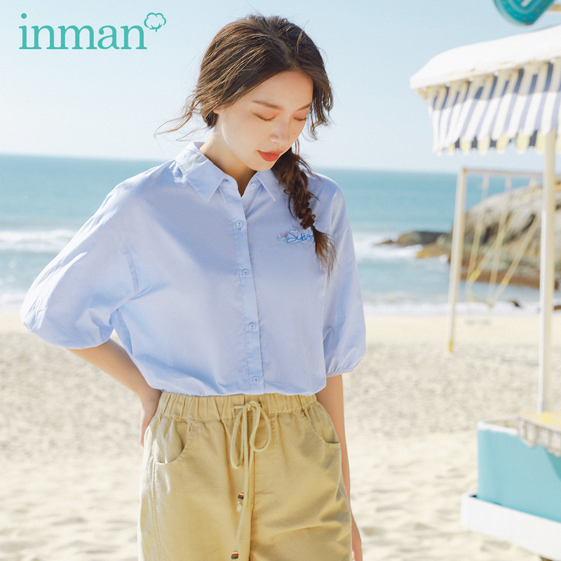 INMAN 2020 Summer New Arriavl Pure Cotton Lapel Literary Embroidered Loose Blouse