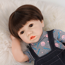 22 Reborn Baby Doll Toy Full Silicone Body LifeLike Real Newborn Doll With Crooked Mouth Bonecas Girl Toys For Kids Gift 17 inch lifelike reborn lovely baby doll laugh soft realistic reborn baby playing toys for kids christmas gifts bonecas