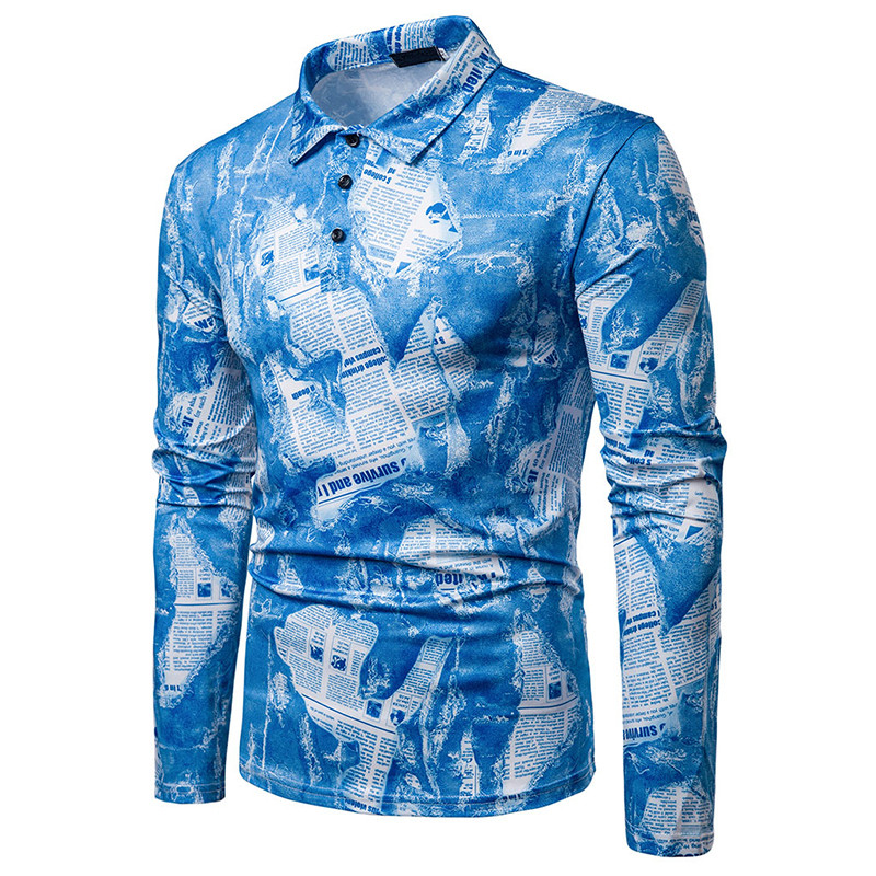 64.1 25,Men`s shirt spring and autumn new men`s fashion printed shirt men`s hooded casual shirt loose lapel long-sleeved shirt