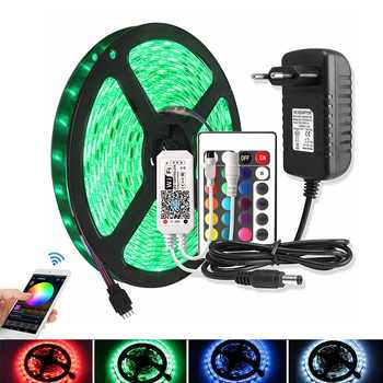 Bluetooth RGB LED Light Strip 5050 WiFi DC 12V Waterproof Flexible Ribbon Led Diode Tape 5M 60 LEDs/m + Controller Power Adapter - DISCOUNT ITEM  25% OFF All Category