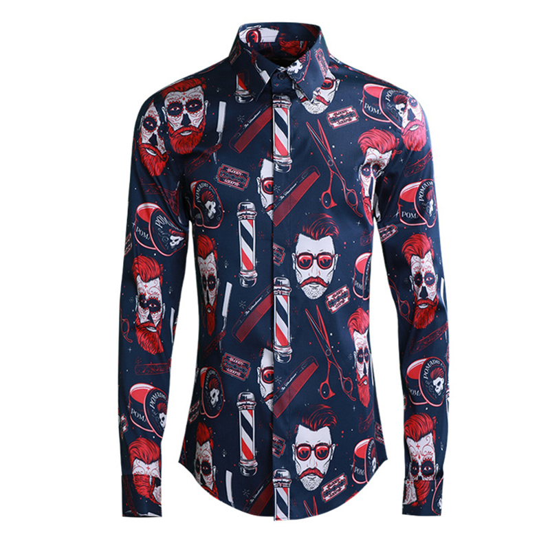 2019 Europe hommes mode garçon rouge impression chemises à manches longues col rabattu chemise cintrée noir bleu homme vêtements Streetwear - 4