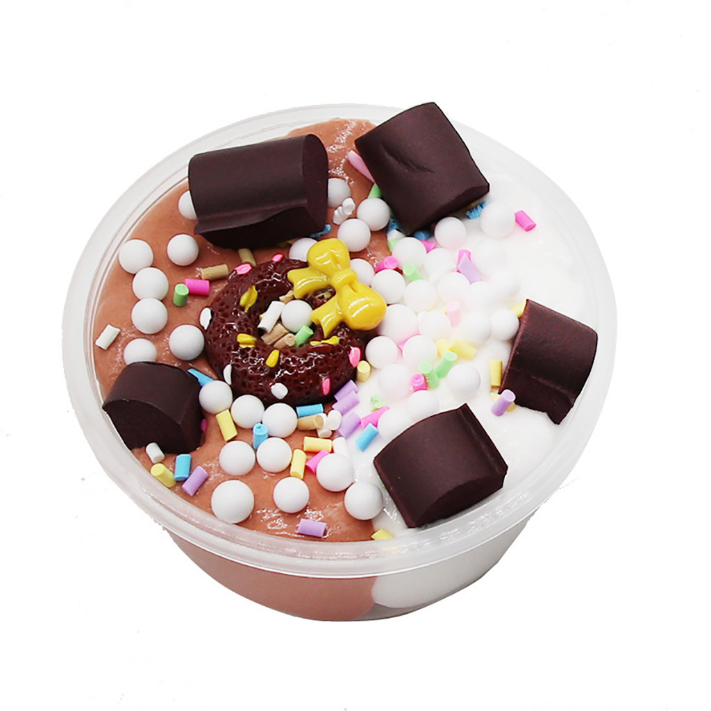 New Donut Cotton Mud Simlation Dessert Soft Decompression Toy Charms Slime Stress Relief Kids Clay Toys #A