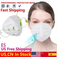 5 couches KN95 masque Valve masque Protection FFP2 masques Filtration bouche couverture Anti poussière Pollution FFP3 masque facial