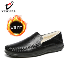 VESONAL 2019 Winter With Fur Plush Warm Genuine Leather Men Shoes Loafers Soft Male Moccasins Flats Casual Boat Driver Driving