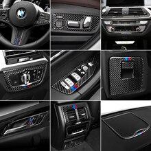 Decoração interior do carro moldando m desempenho de fibra carbono ar condicionado cd painel controle etiqueta para bmw g01 g08 g02 x3 x4