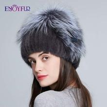 ENJOYFUR Warm Winter Fur Hats For Women Natural Mink Fur Knitted Caps Female Beanies Weaving with Fox Fur