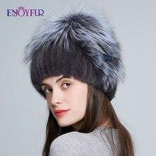 Enjoyالفراء الدافئة الشتاء الفراء القبعات للنساء فرو منك الطبيعية محبوك قبعات الإناث بيني النسيج مع فرو الثعلب