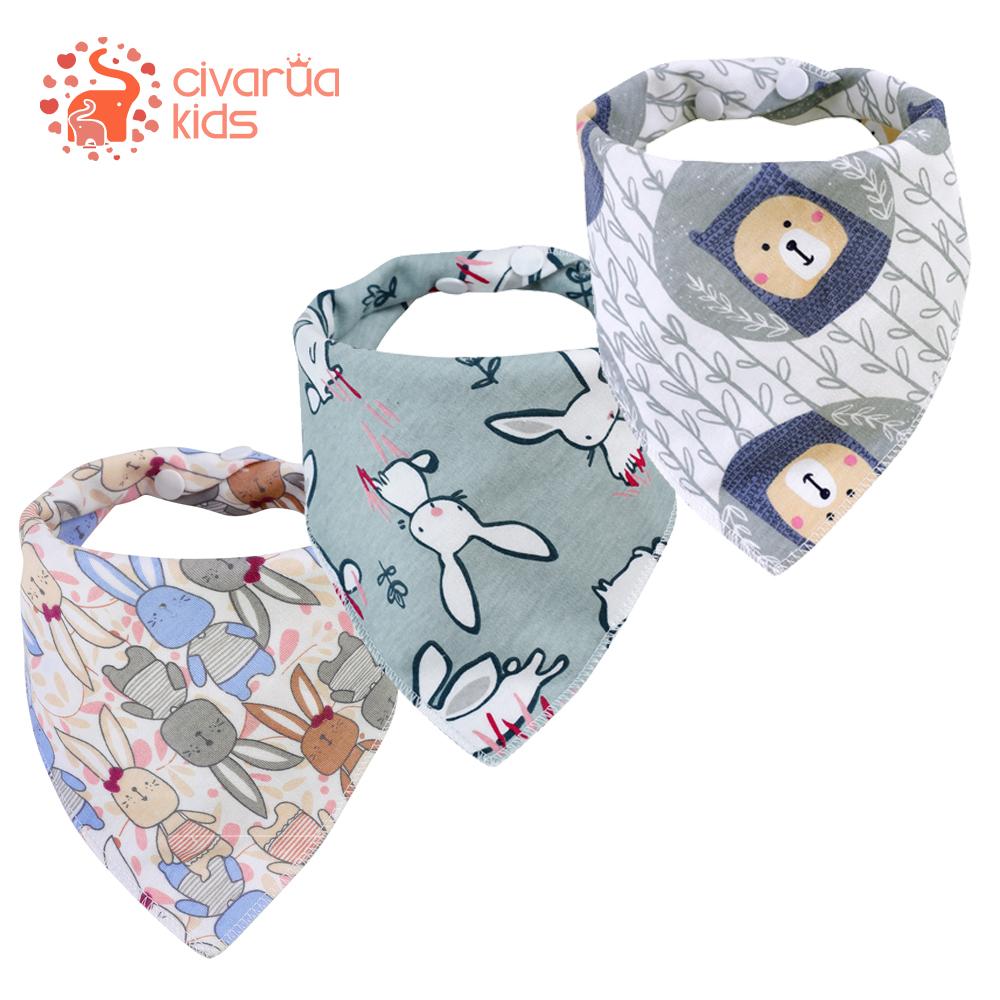 Civarua Kids Baby Bandana Drool Bibs 100% Organic Cotton Bibs for Boys & Girls, Super Soft Absorbent Feeding Bibs Newborn Bibs