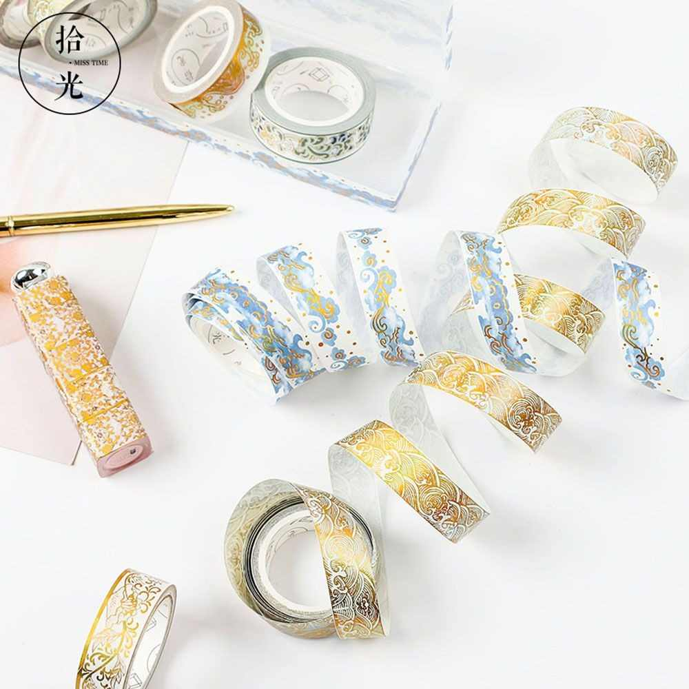 2020 Baru Masking Foil Emas Foil DIY Kerajinan Glitter Kertas Lengket Perekat Cina Pola Washi Tape Alat Tulis Sekolah