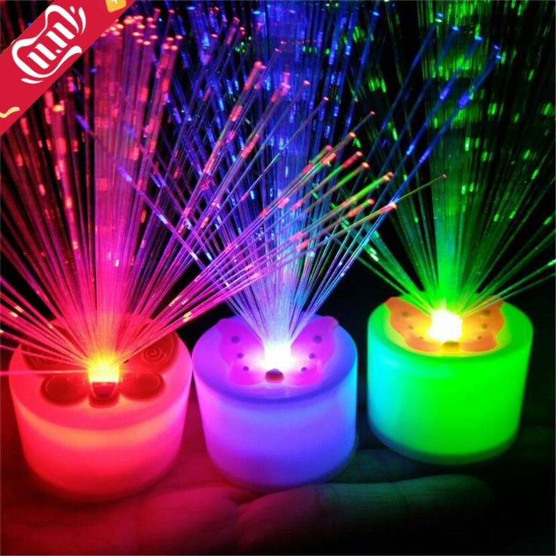 1Pc Changing LED Fiber Optic Night Light-Up Toy Lamp Battery Powered Small Light Christmas Party Decor Romantic Color