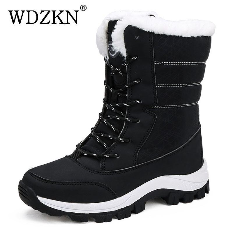 WDZKN 2019 Winter Warm Shoes Women Snow Boots Thick Plush Mid Calf Flat Boots Female Botas Mujer Waterproof Winter Women BootsMid-Calf Boots   -