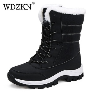 Image 1 - WDZKN 2019 Winter Warm Shoes Women Snow Boots Thick Plush Mid Calf Flat Boots Female Botas Mujer Waterproof Winter Women Boots