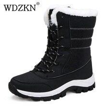 WDZKN 2019 hiver chaud chaussures femmes bottes de neige épaisse en peluche mi mollet bottes plates femme Botas Mujer imperméable hiver femmes bottes