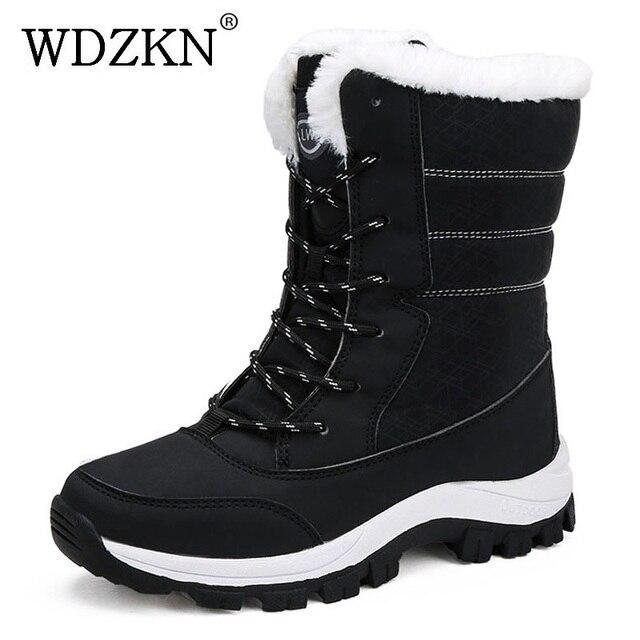WDZKN 2019 الشتاء أحذية دافئة النساء الثلوج سميكة أفخم منتصف العجل الأحذية المسطحة الإناث بوتاس موهير للماء الشتاء النساء الأحذية
