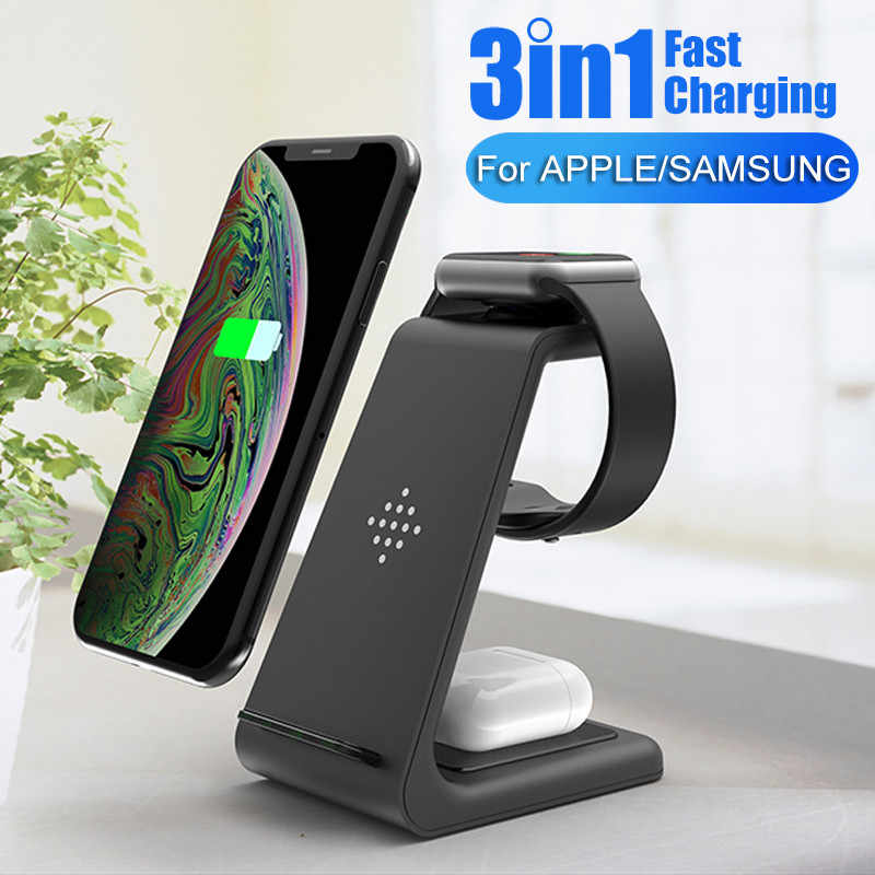 QI 3 In 1 Dukungan Dock Station Wireless Wast Charger Pemegang untuk Apple Watch 5 4 3 2 iPhone 11 pro Xs Max Samsung S20