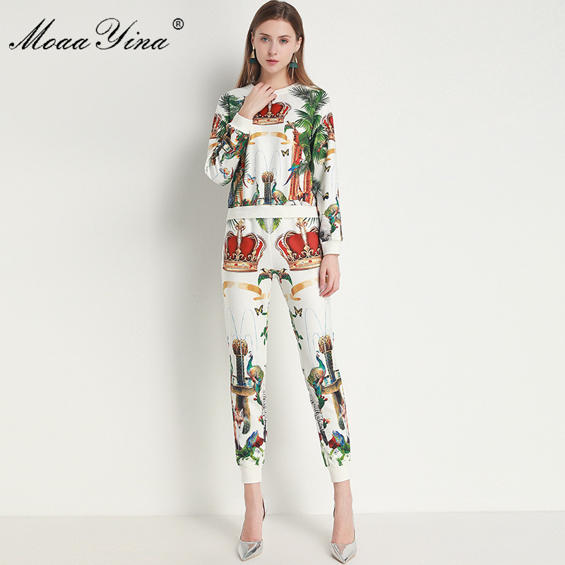 Moaayina Fashion Designer Set Summer Women Long Sleeve Small Animals Print Pullover Tops Trousers Two Piece Suit Women S Sets Aliexpress