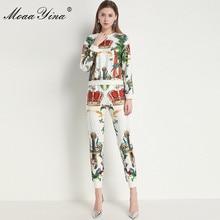 MoaaYina Fashion Designer Set Summer Women Long sleeve Small animals Print Pullo
