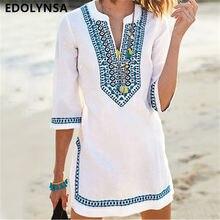 Женская пляжная одежда, накидка, винтажное летнее пляжное платье с вышивкой, белая хлопковая туника, купальник, накидка, саронги, пляж# Q549