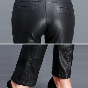Image 5 - Sıcak PU deri orta bel pantolon kadınlar seksi kalça moda sonbahar kış kalem çevre deri pantolon pantolon kadın Pantalon Femme 2020