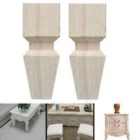 2 pièces bois solide canapé pied maison pratique Stable jambes antidérapant armoire Table Support meubles Style européen universel en caoutchouc -