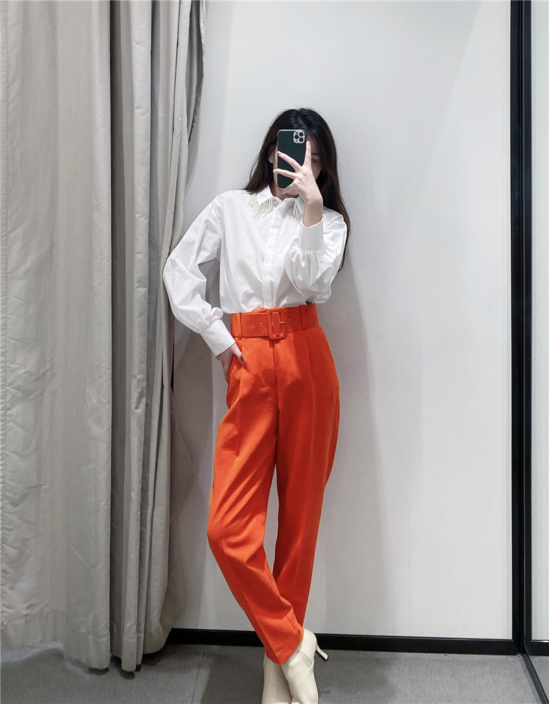 He4a0134922eb470f990941d7f2f59a07P - Office Lady Black Suit Pants With Belt Women High Waist Solid Long Trousers Fashion Pockets Pantalones FICUSRONG Pencil