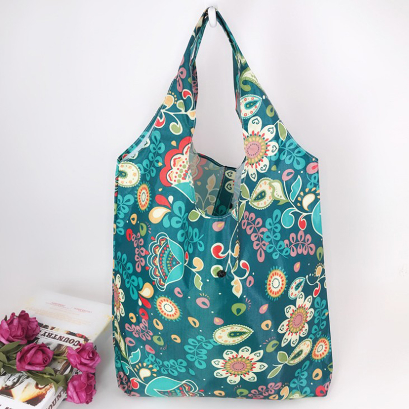 Random Color Reusable Shopping Bag Floral Printed Eco Environmental Tote Handbag Women Casual Flower Folding Grocery Bag Pouch