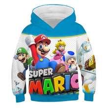 Felpa con cappuccio per bambini Mario Bros moda Casual Super 3D ragazzi ragazze cartoni animati felpe top Pullover per bambini abbigliamento sportivo regalo per bambini