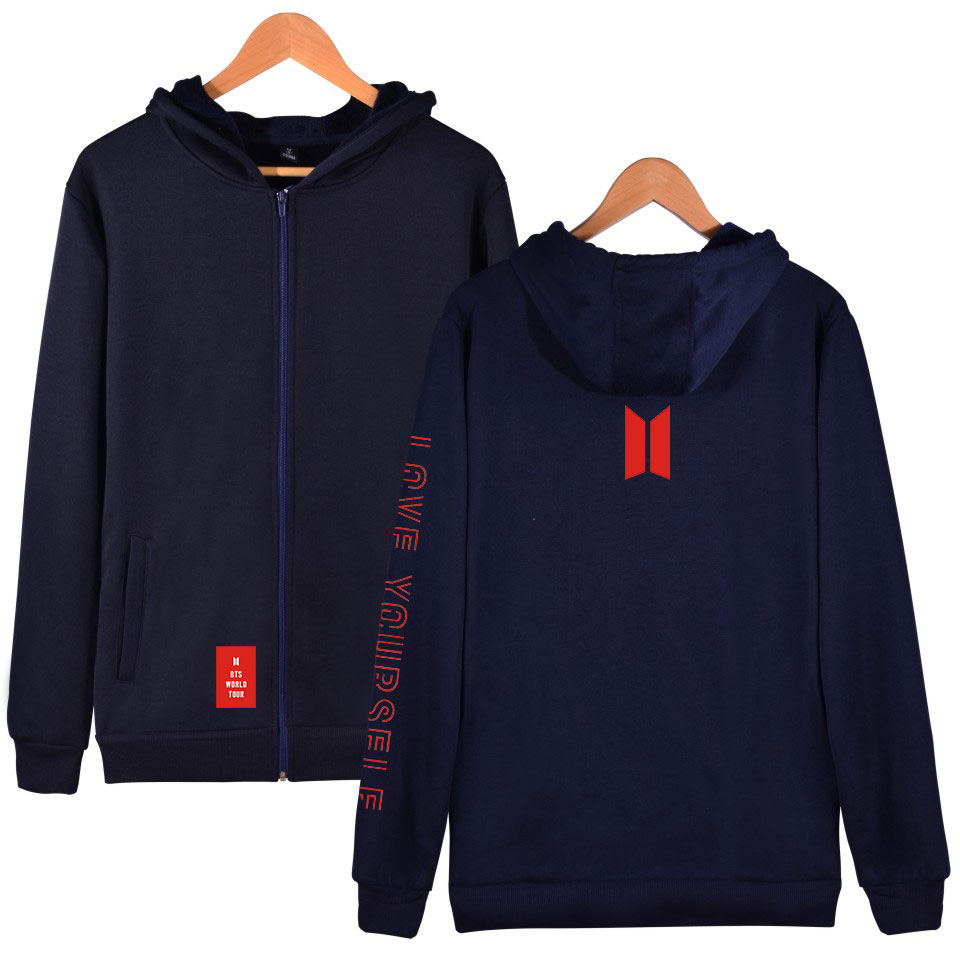 2019 New Products Hot Sales Trend Bts LOVE Yourself Zipper Hooded Sweater