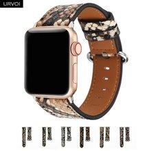 Ремешок URVOI для Apple Watch series 6 5 4 3 2 1 SE, ремешок из микрофибры с принтом питона для iWatch, пу кожа, современный дизайн