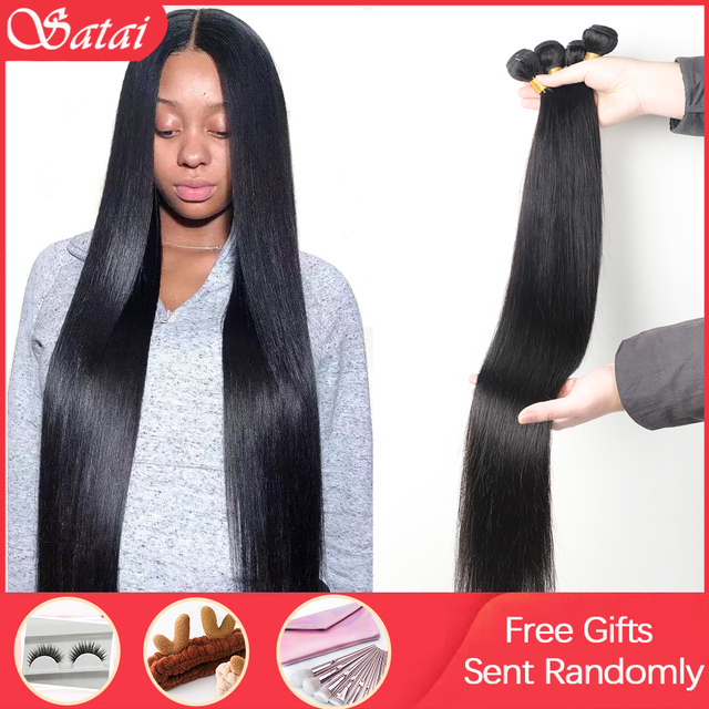 Satai Straight Human Hair Bundles 3 Bundles 8 30 inch M Remy Hair Bundles Brazilian Hair Weave Bundles 100% Human Hair
