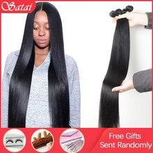 Satai extensiones de cabello humano liso 3 mechones de cabello Remy de 8 30 pulgadas, extensiones de pelo ondulado brasileño 100% cabello humano