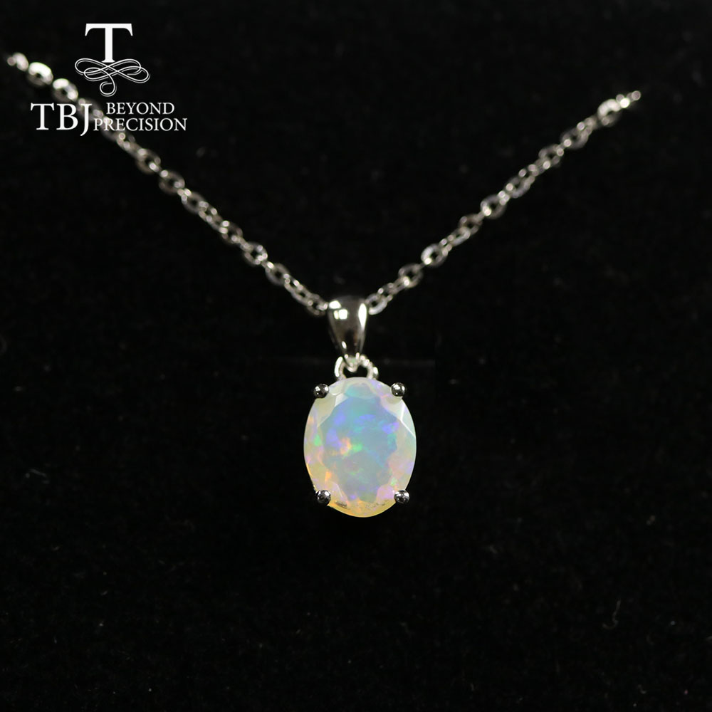 Multi Ov 7*9mm Gemstone Pendant ,simple Design Black Opal  Neckalce Aquamarine Pendant Labradorite Pendant  925 Sterling Silver