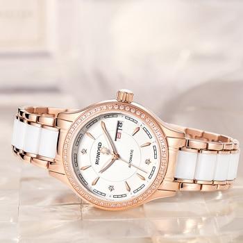 RUNOSDLadies Watch Luxury Rose Gold Zircon Day Calendar miyota Mechanical Movement Sapphire Crystal Stainless Steel 8157LS 4
